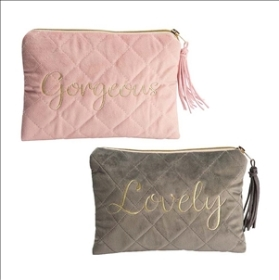 Quilted Velvet Make Up Bag